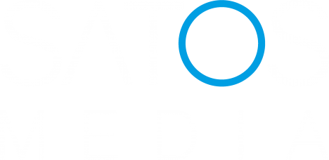 Satos Logo white on transparent backround with blue O